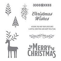 Merry Mistletoe Wood-Mount Stamp Set