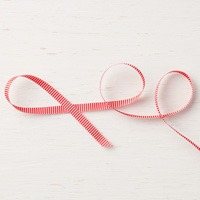 "Poppy Parade 1/4"" (6.4 mm) Mini Striped Ribbon"