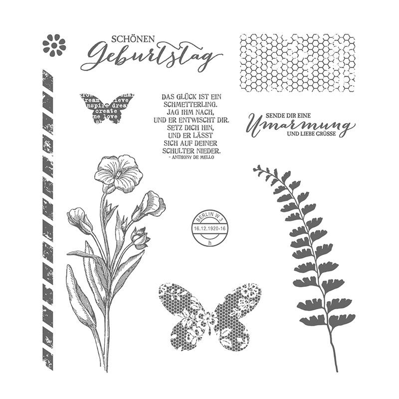 Schmetterlingsgruß Photopolymer Stamp Set (German)
