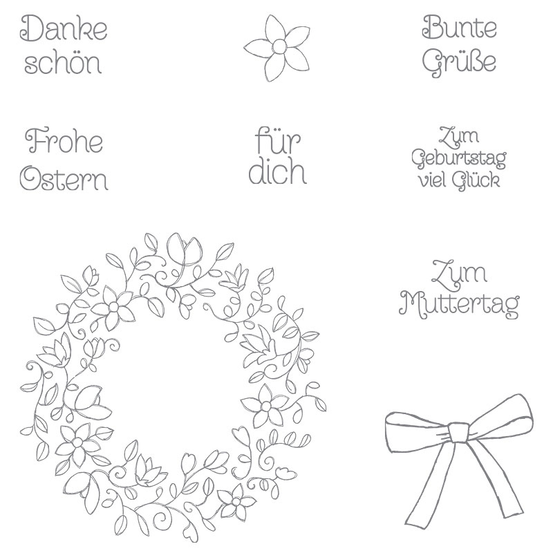 Frühlingsreigen Photopolymer Stamp Set (German)