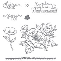 Fleurs D'anniversaire Clear-Mount Stamp Set (French)