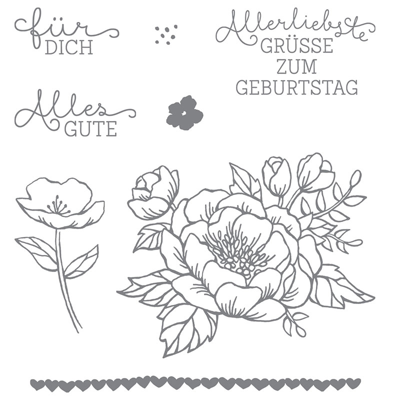 Geburtstagsblumen Clear-Mount Stamp Set (German)