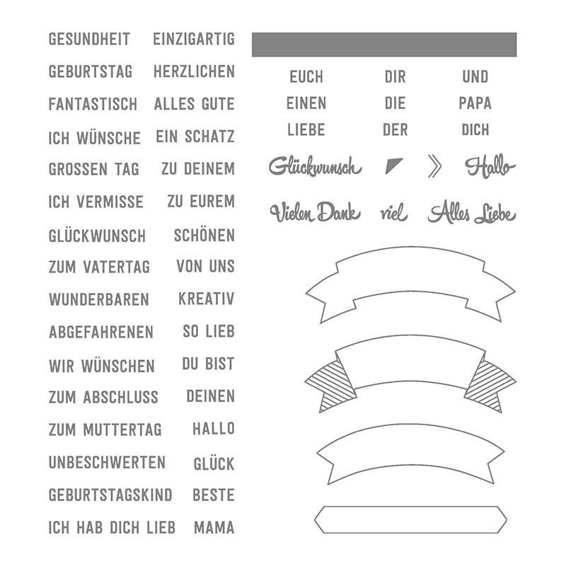 Bannerweise Grüße Photopolymer Stamp Set (German)