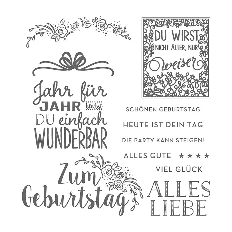 Zum Geburtstag Photopolymer Stamp Set (German)