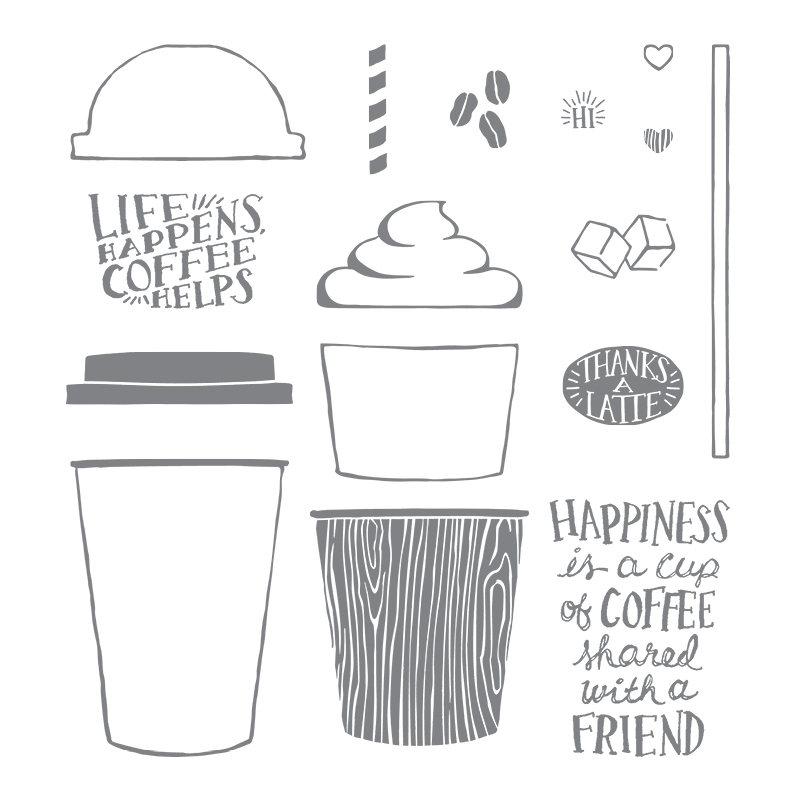 Coffee Cafe Photopolymer Stamp Set By Stampin Up