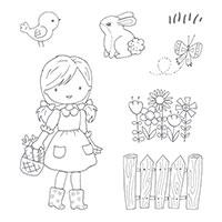 Garden Girl Clear-Mount Stamp Set