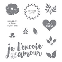 Tout mon amour Clear-Mount Stamp Set (French)