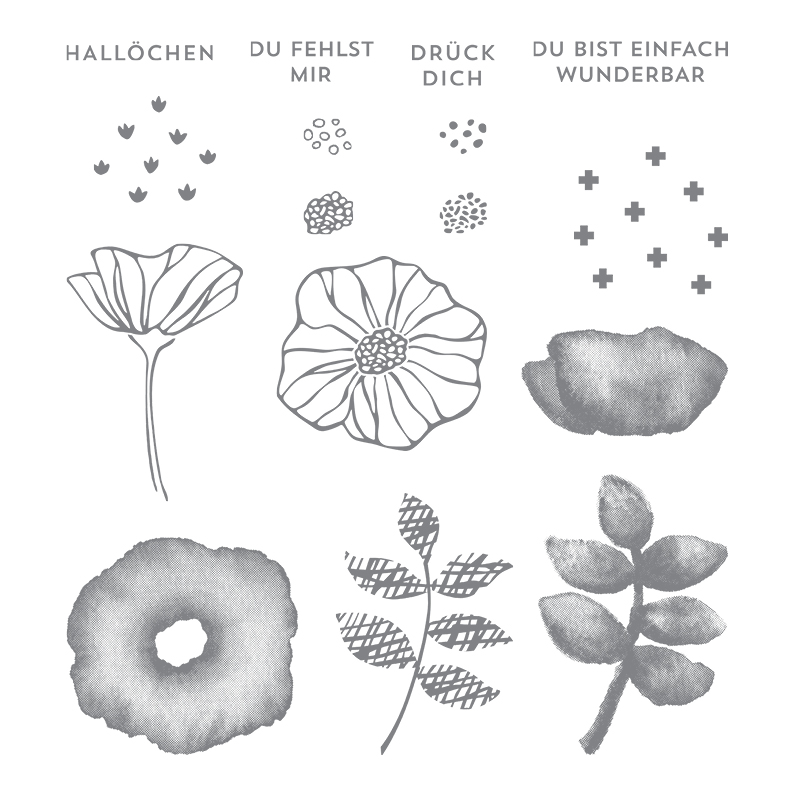 Bunt gemischt Clear-Mount Stamp Set (German)