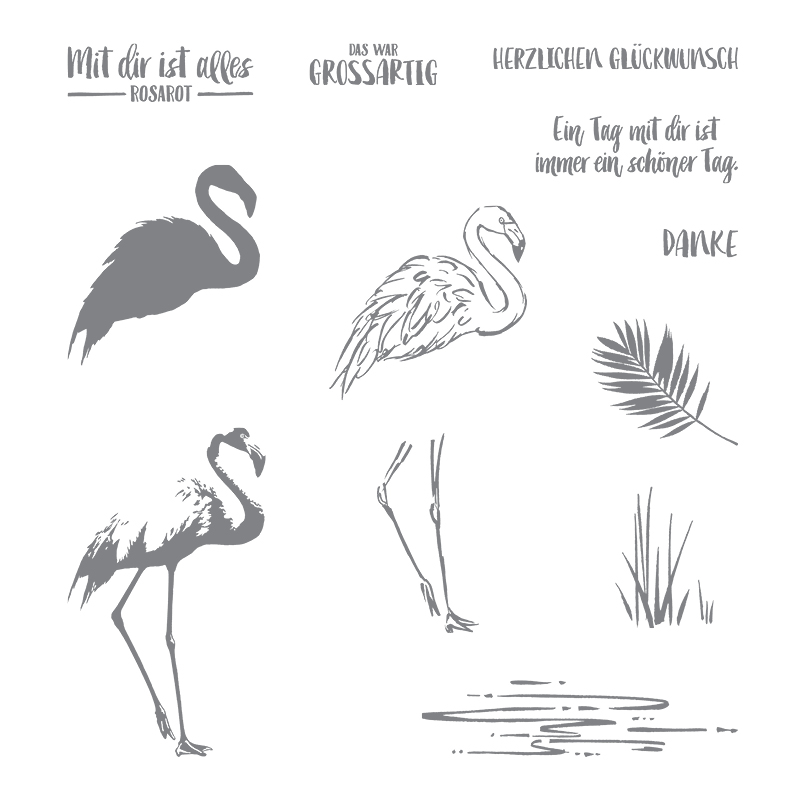 Flamingo-Fantasie Photopolymer Stamp Set (French)