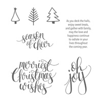 Watercolor Christmas Wood-Mount Stamp Set