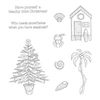 Beachy Little Christmas Wood-Mount Stamp Set