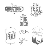 Weihnachtliche Etiketten Clear-Mount Stamp Set (German)