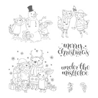 Mistletoe Friends Clear-Mount Stamp Set