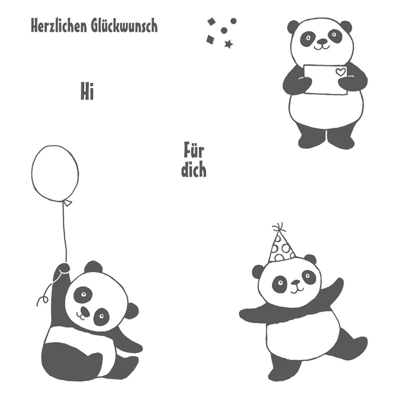 Party Pandas Clear-Mount Stamp Set (German)