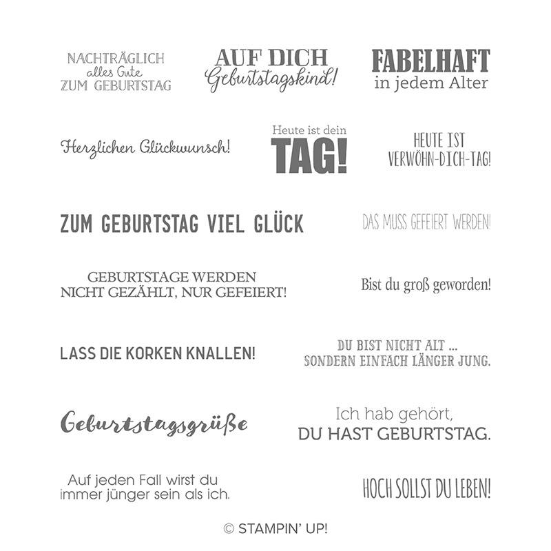 Geburtstagsmix Cling Stamp Set German By Stampin Up
